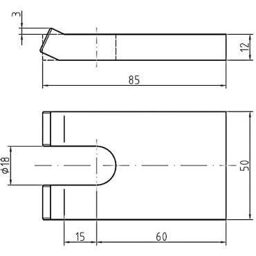 Luikplaat tbv aanlasstellen, M16 85x50x12mm Staal small