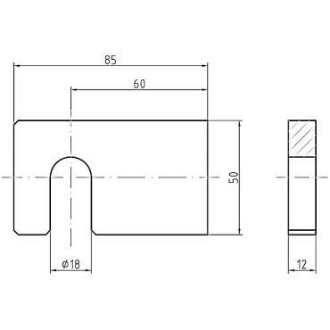 Luikplaat tbv aanlasstellen, M16 85x50x12mm, zijaansluiting Staal small