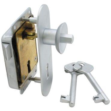Meubeloplegslot drukknop bediend Ls afsluitbaar met klavier sleutel, deurdikte 15-30mm Messing mat chroom small