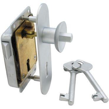 Meubeloplegslot drukknop bediend Rs afsluitbaar met klavier sleutel, deurdikte 15-30mm Messing mat chroom small
