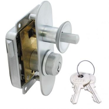 Meubeloplegslot drukknop bediend Rs afsluitbaar met profielcilinder, deurdikte 15-30mm Messing mat chroom small