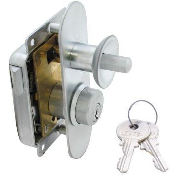 Meubeloplegslot drukknop bediend Ls afsluitbaar met profielcilinder, deurdikte 15-30mm Messing mat chroom small