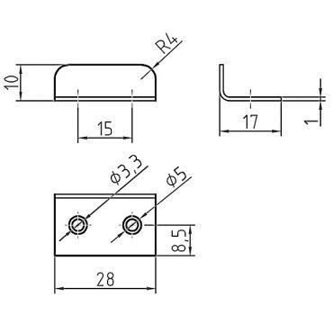Hoeksluitplaat tbv oplegmeubelslot  Messing mat chroom small