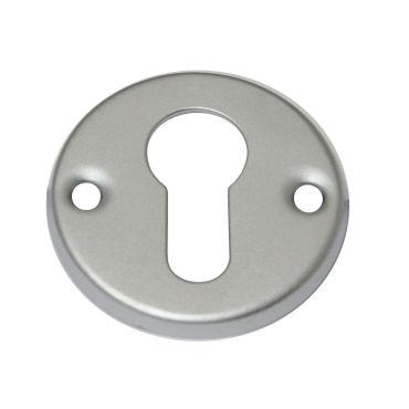 Rozet profiel cilinder opschroef 51mm rond per stuk Messing mat chroom small
