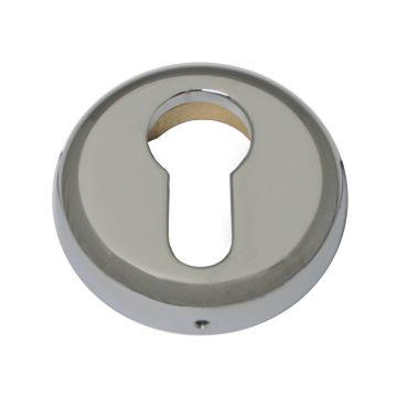 Rozet profiel cilinder verdekte montage 51mm rond per stuk Messing gepolijst chroom small