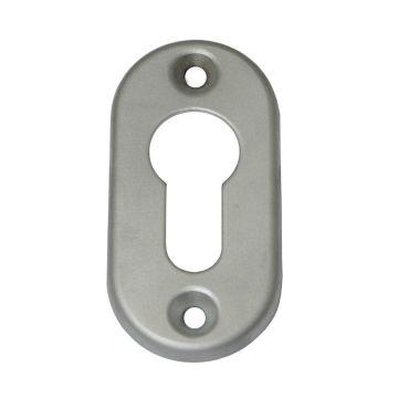 Rozet profiel cilinder opschroef 66x33mm per stuk Messing mat chroom small