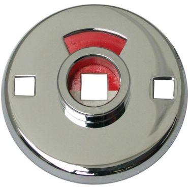 Rozet Wc opschoef  51mm rond buitenzijde met vrij/bezet signalering per stuk Messing mat chroom