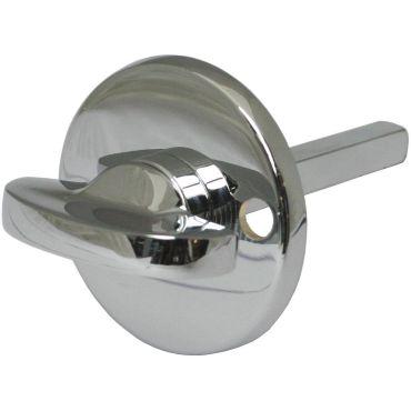 Rozet Wc opschroef  51mm rond binnenzijde met vrij/bezet draaiknop 7mm stift Messing gepolijst chroom small