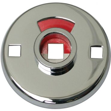Rozet Wc tbv patentbouten  51mm rond buitenzijde met vrij/bezet signalering 7mm stift Messing gepolijst chroom small