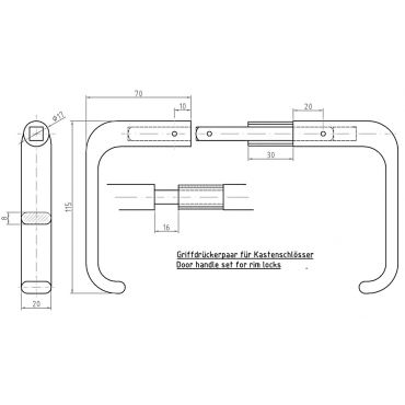 Deurkrukken oplegslot, krukstift 9mm, deurdikte 32-43mm Rvs geborsteld small