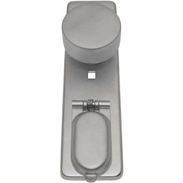 Deurschild 165x45 mm Knop t.b.v. Pc met Messing cilinder afdekkap incl. bevestigings materiaal Messing mat chroom small