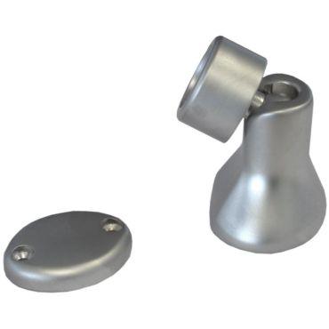 Deurvastzetter magnetisch met kniegewricht 90° draaibaar incl. deurplaat Messing Mat chroom