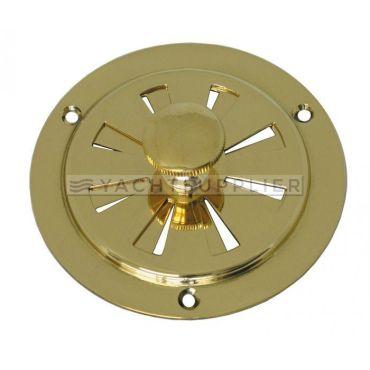Ventilatie rooster rond 150mm, doormiddel van draaiknop te bedienen Messing gepolijst small
