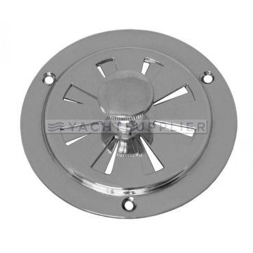 Ventilatie rooster rond 100mm, doormiddel van draaiknop te bedienen Messing gepolijst chroom small