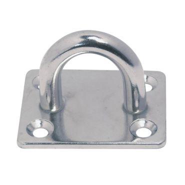 Dekplaat vierkant met halfrond oog - Ø8mm - Rvs 304