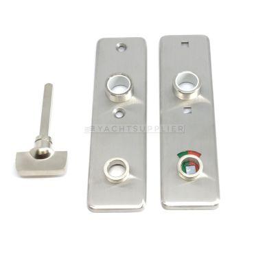 Deurschild Wc buitenzijde 165x45mm met vrij/bezet signalering per stuk Messing mat chroom small