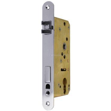 Insteekslot PC, Din Ls, 55/8/75mm, driedelige anti-rammel dagschoot  Messing mat chroom small