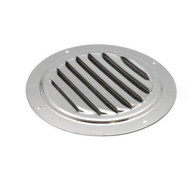 Rvs ventilatierooster 100mm met insecten-gaas Rvs gepolijst
