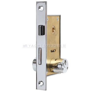 Insteekslot klein Pc met cilinder, cilinderlengte: 54mm Din Rs, incl. 2 sleutels Messing gepolijst chroom small