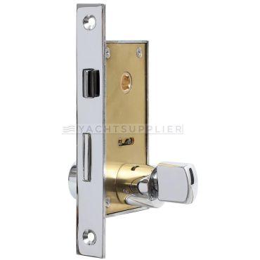 Insteekslot klein Pc met knop/cilinder, cilinderlengte: 54mm Din Ls, incl. 2 sleutels Messing gepolijst chroom small