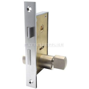 Insteekslot klein Pc met knop/cilinder, cilinderlengte: 54mm Din Ls, incl. 2 sleutels Messing mat chroom small