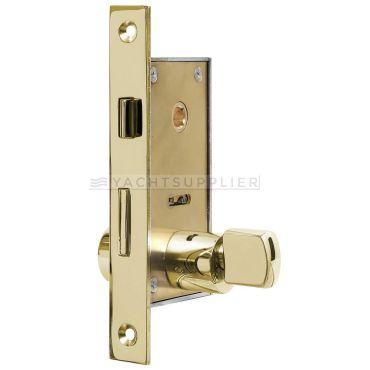 Insteekslot klein Pc met knop/cilinder, cilinderlengte: 54mm Din Ls, incl. 2 sleutels Messing gepolijst small
