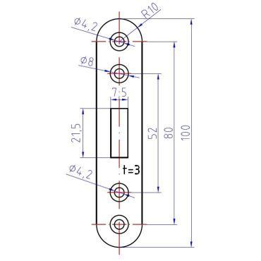 Sluitplaat 100x20mm voor 104 serie Schuifdeursloten - Messing gepolijst Chroom - 104831.6 small